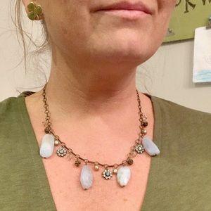 Liz Palacios XL Blue Lace Agate & Pearl Necklace